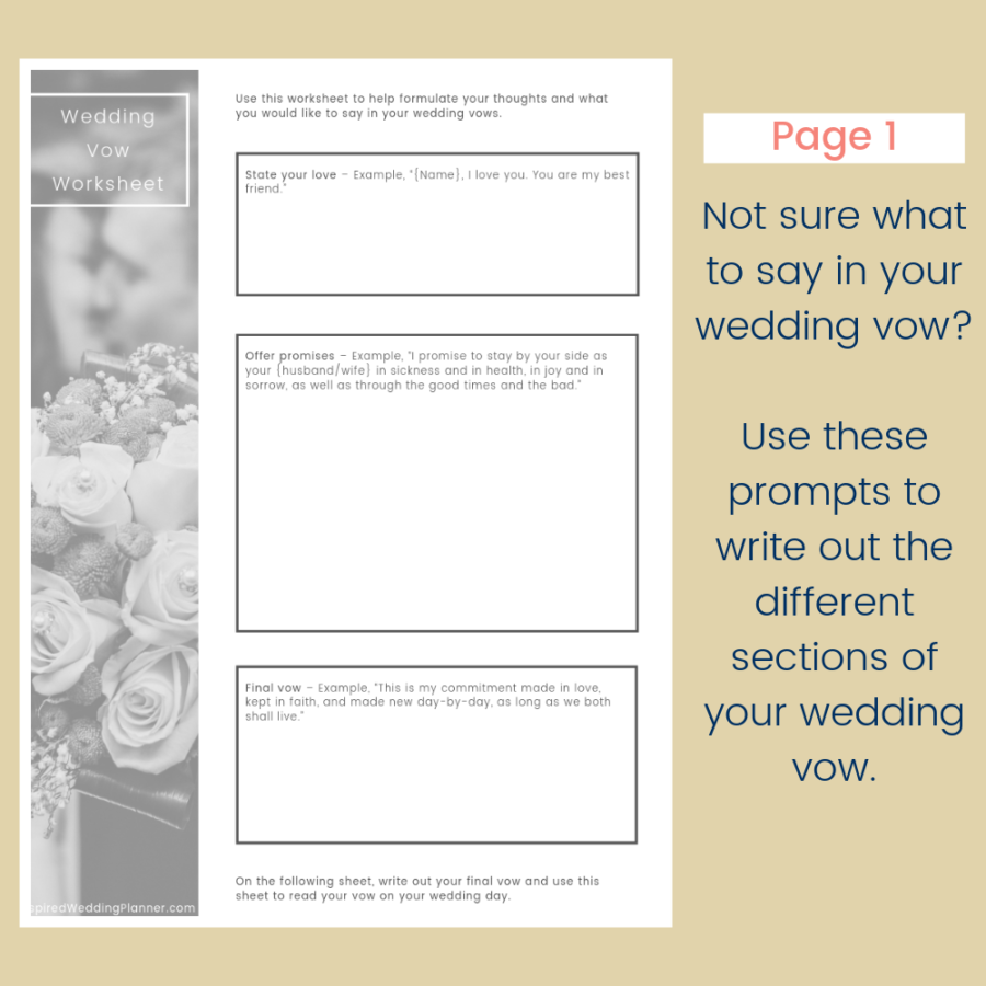 Write Your Own Wedding Vows Worksheet
